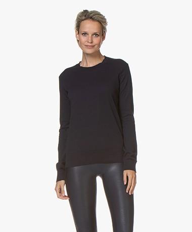 Denham Taylor Fine Knit R-neck Sweater - Navy