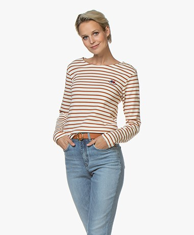La Petite Française Ticket Striped Long Sleeve - Ecru/Hazelnut