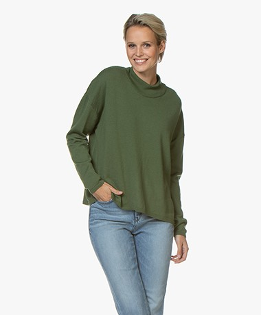 Sibin/Linnebjerg Silva Merino Mock Neck Trui  - Light Army