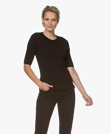 Repeat Half Sleeve Cotton Blend Rib Pullover - Black