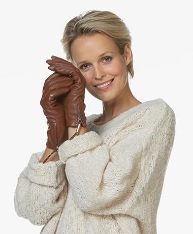 Filippa K Women Zip Gloves - Coconut Brown