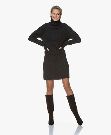 Drykorn Arwenia Rib Knit Turtleneck Dress - Dark Green
