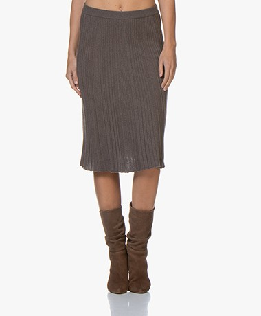 Belluna One Knitted Pleated Skirt - Marronne
