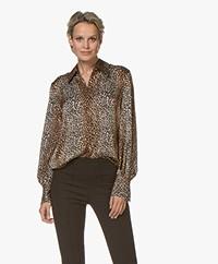 Equipment Didina Leopard Print Blouse - Black/Brown