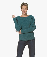 Majestic Filatures Chunky Knit Merino Blend Sweater - Peacock