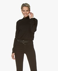 indi & cold Wool Sweater with Leopard Ruffles - Black