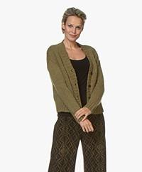 Pomandère Chunky Knit Wool Blend Cardigan - Olive Green