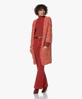 American Vintage Boolder Cropped Sleeve Cardigan - Basalt and Poppy Flower