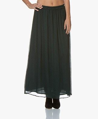 by-bar Pleun Print Chiffon Maxi Skirt - Dark Green