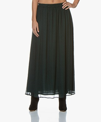by-bar Pleun Print Chiffon Maxi Skirt - Dark Green