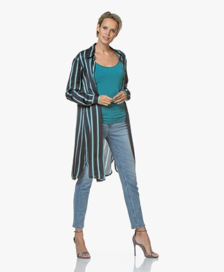 no man's land Striped Satin Shirt Dress - Lagoon