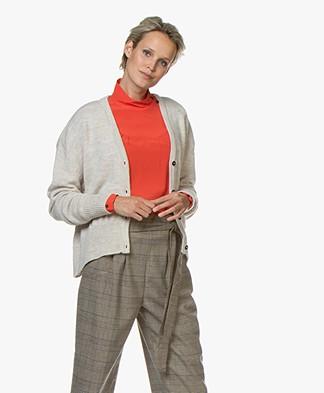Sibin/Linnebjerg Center Wool Blend Button-through Cardigan - Sand