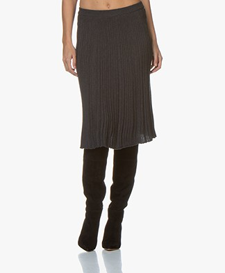 Belluna One Knitted Pleated Skirt - Anthracite Melange