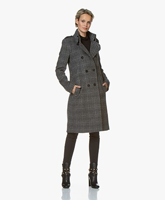 Drykorn Buckey Knee-length Wool Blend Coat with Checkers - Grey