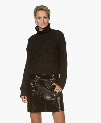 by-bar Mohair Blend Ribbed Turtleneck Sweater - Black