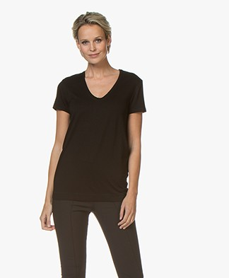 By Malene Birger Fevia Stretch-blend T-shirt - Black