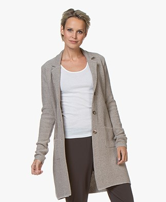 Belluna Seatle Long Knitted Blazer Cardigan - Beige Melange