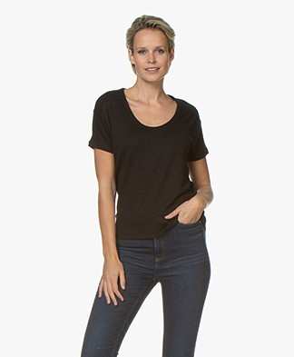 Rag & Bone Ramona Fijn Gebreid T-shirt - Zwart