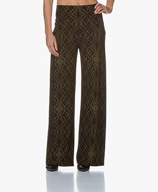 Norma Kamali Straight Leg Printed Pants - Olive Sweater