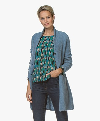 Belluna Moonlight Mid-length Blazer Cardigan - Light Blue