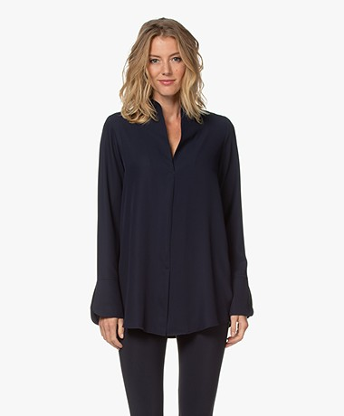 Woman by Earn Nada Blouse with Slit Sleeves - Navy