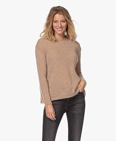 LaSalle Mohair Blend Split Sweater - Beige