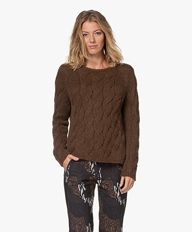 Sibin/Linnebjerg Gloria Cable Knit Sweater - Brown