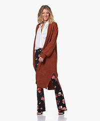 LaSalle Long Open Wool Blend Cardigan - Terracotta