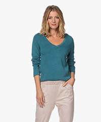 Repeat V-neck Sweater in Cotton and Viscose - Ocean
