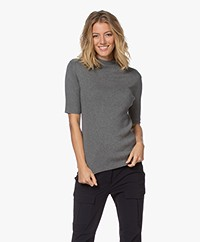 JapanTKY Tora Cotton Short Sleeve Turtleneck Sweater - Grey