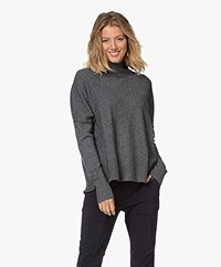 Repeat Turtleneck Sweater with Faux Button Closure - Medium Grey