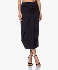 JapanTKY Sayke Travel Jersey Skirt with Knot Detail - Black Blue