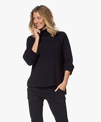 Woman by Earn Annet Modal Blend Ribbed Pullover - Navy