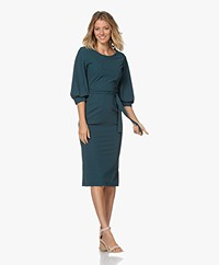 LaDress Olivia Travel Jersey Midi Jurk - Dark Emerald