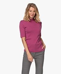 JapanTKY Tora Cotton Short Sleeve Turtleneck Sweater - Violet