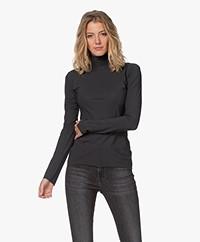 Woman by Earn Olive Tech Jersey Colshirt - Donkergrijs