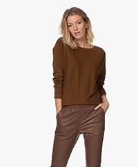 no man's land Fine Knitted Sweater - Dark Cognac