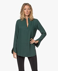 Woman by Earn Nada Blouse with Slit Sleeves - Dark Green
