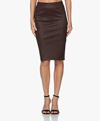 By Malene Birger Floridia Lambs Leather Pencil Skirt - Dark Plum