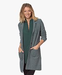 Belluna Seatle Long Knitted Blazer Cardigan - Green Melange