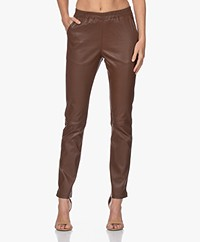 no man's land Leather Pull-on Pants - Dark Cognac