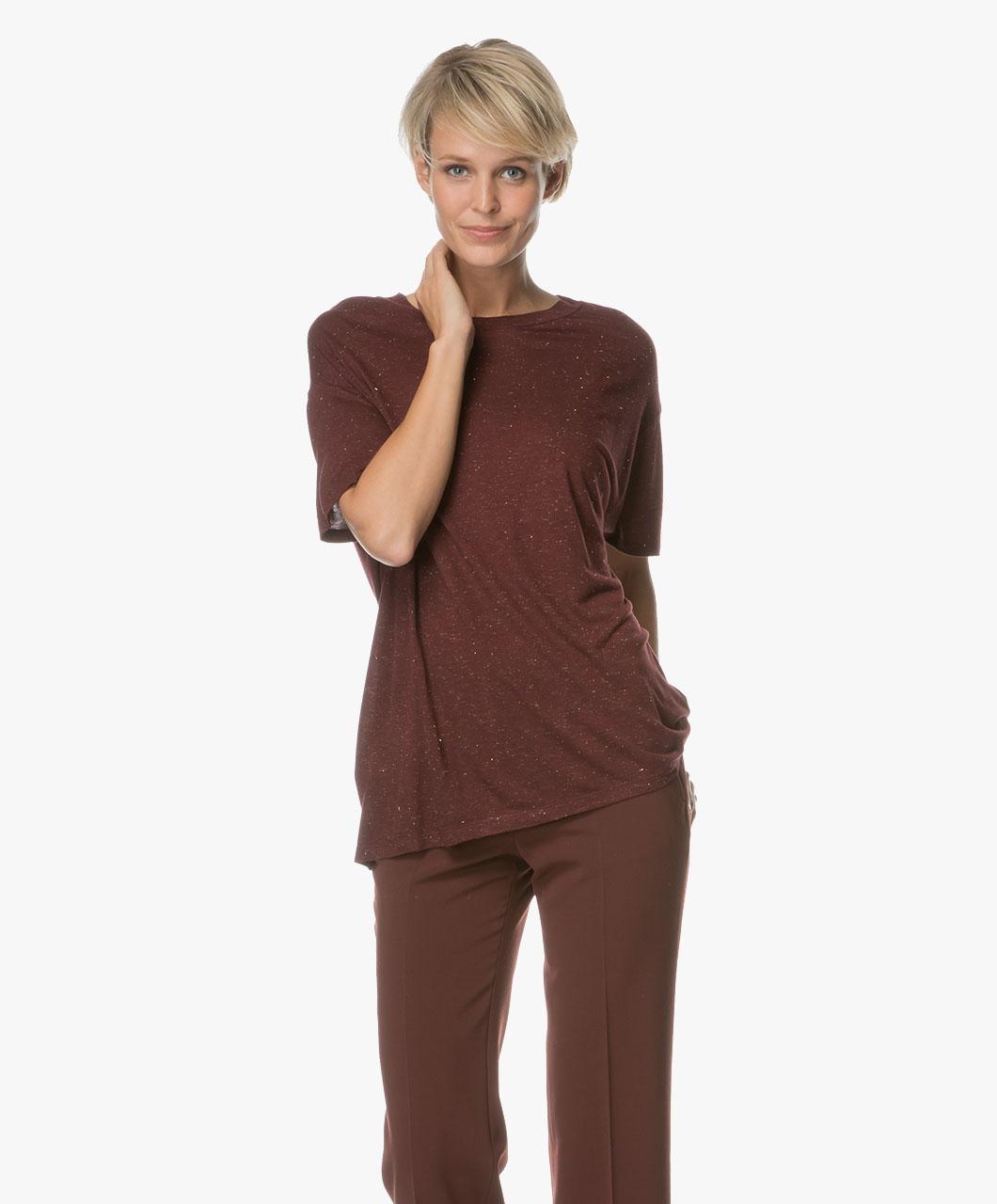 drykorn kyla t shirt with lurex detailing burgundy kyla 507210 50. Black Bedroom Furniture Sets. Home Design Ideas