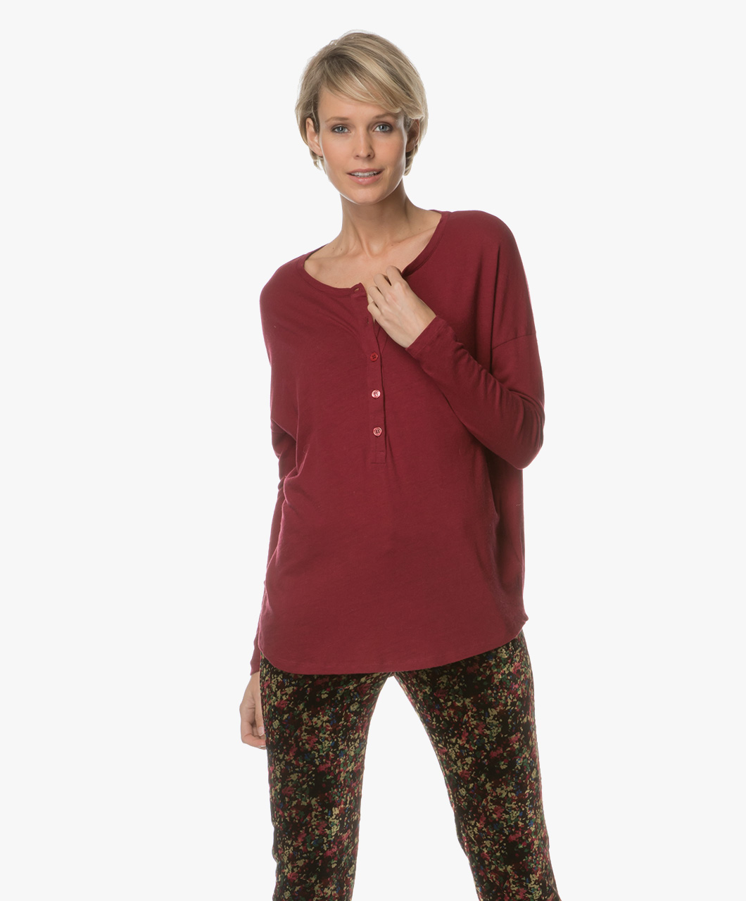 Majestic Henley T Shirt With Cashmere Grenat H17 05 31 854