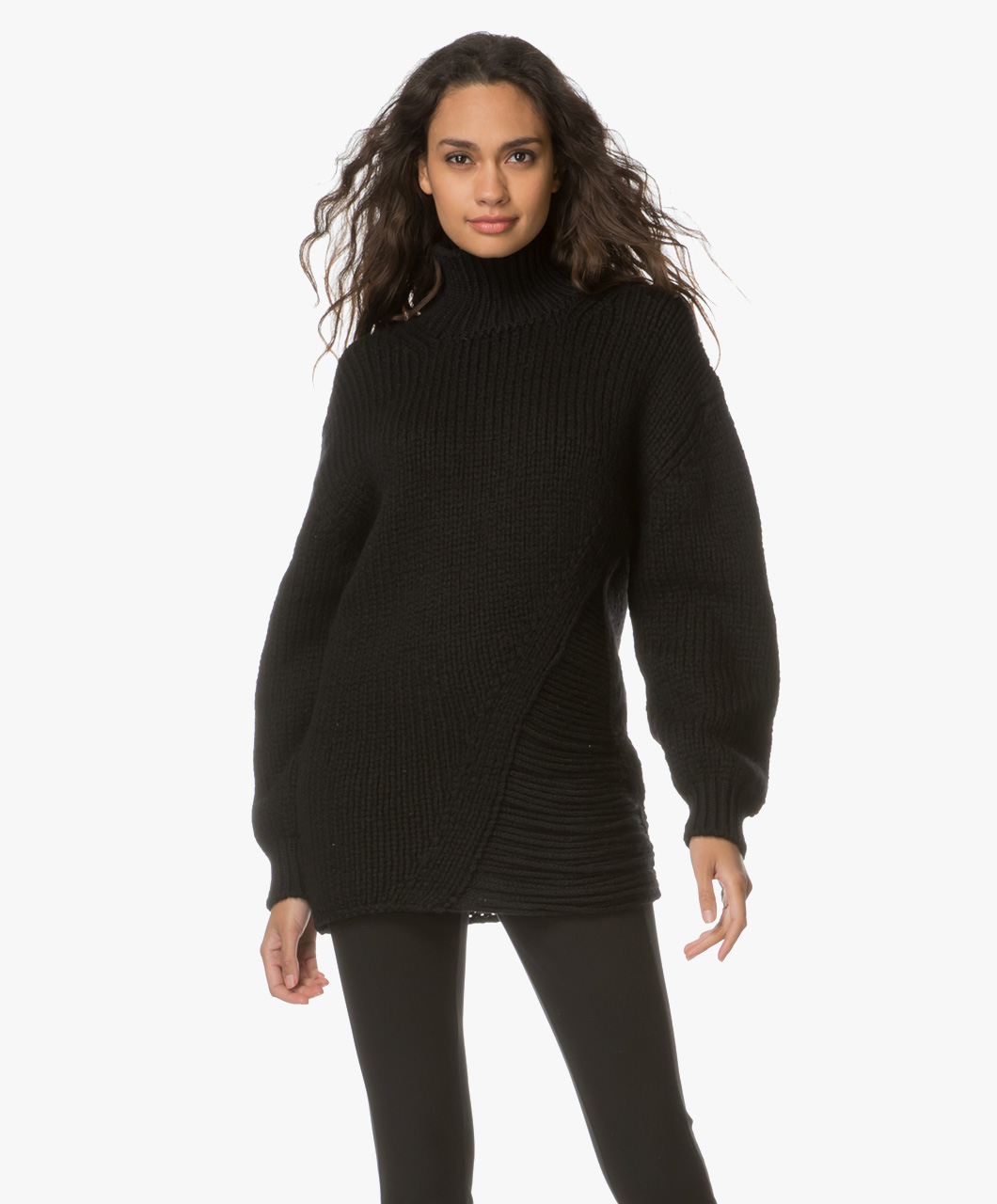 Grof Gebreide Zwarte Trui.Shop The Look Trendy Comfort Perfectly Basics