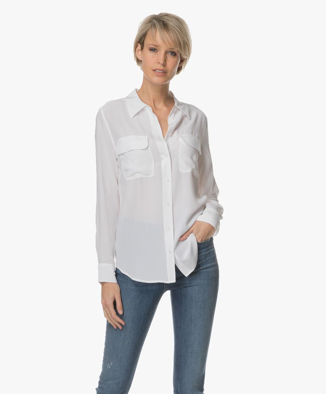 9345a5e546bdc3 Equipment Slim Signature Washed-silk Shirt - Bright White - Equipment