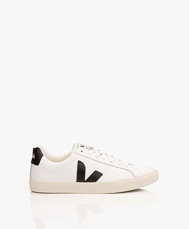 VEJA Esplar Low Logo Leren Sneakers - Extra Wit/Zwart