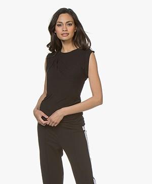 Majestic Filatures Mouwloos T-shirt van Viscose - Zwart