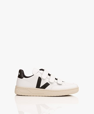 VEJA V-12 B-Velcro Leather Sneakers - Extra White/Black