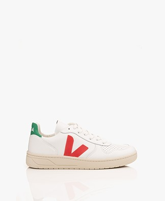 VEJA V-10 Leather Sneakers - Extra White/Pekin/Emeraude