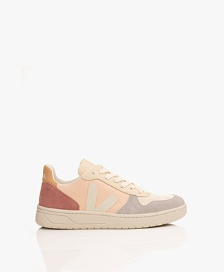 VEJA V-10 Leather and Nubuck Sneakers - Multicolored Nude